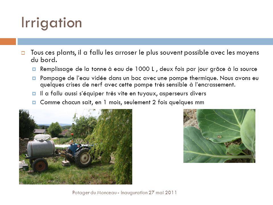 Irrigation Tous ces plants, il a fallu les arroser le plus souvent possible avec les moyens du bord. Remplissage de la tonne à eau de 1000 L, deux foi