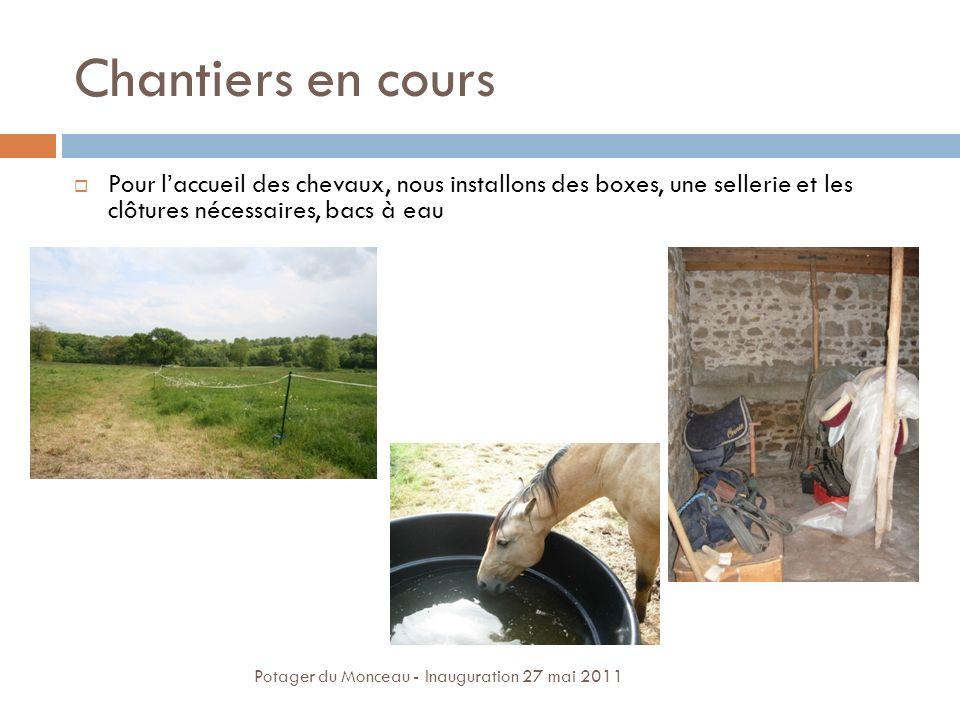 Chantiers en cours Pour laccueil des chevaux, nous installons des boxes, une sellerie et les clôtures nécessaires, bacs à eau Potager du Monceau - Ina