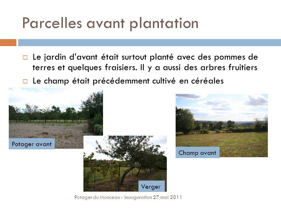 Parcelles avant plantation Le jardin davant était surtout planté avec des pommes de terres et quelques fraisiers. Il y a aussi des arbres fruitiers Le