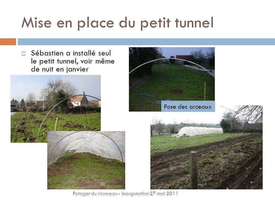 Mise en place du petit tunnel Sébastien a installé seul le petit tunnel, voir même de nuit en janvier Pose des arceaux Potager du Monceau - Inaugurati