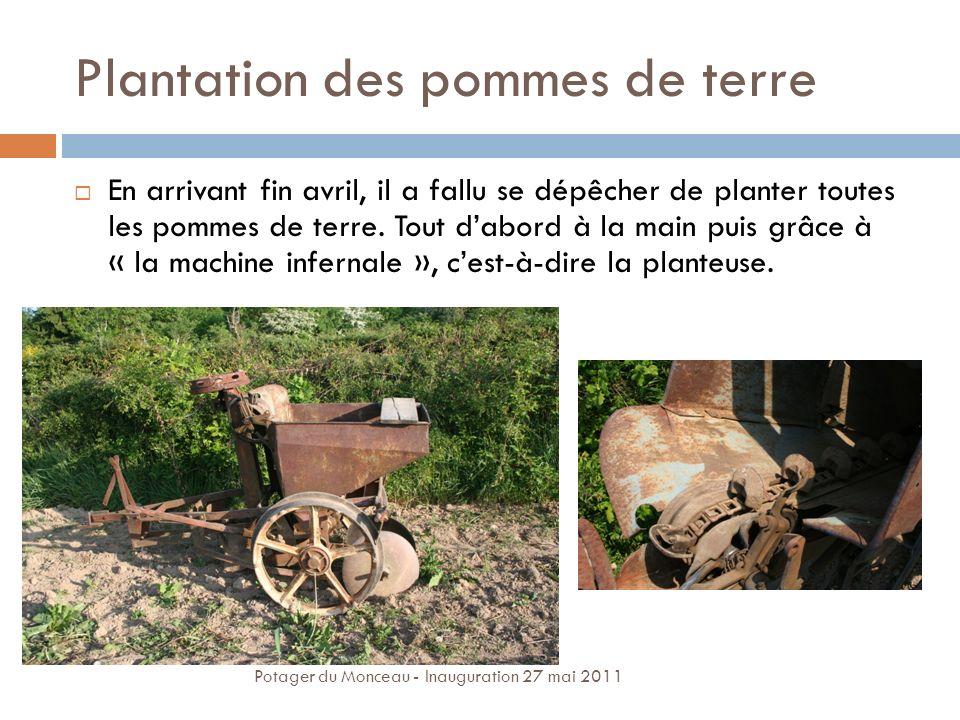 Plantation des pommes de terre En arrivant fin avril, il a fallu se dépêcher de planter toutes les pommes de terre. Tout dabord à la main puis grâce à
