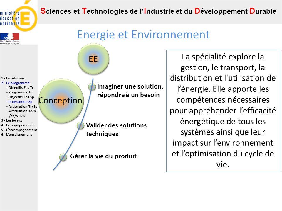Energie et Environnement EE Imaginer une solution, répondre à un besoin Gérer la vie du produit Valider des solutions techniques Conception La spécialité explore la gestion, le transport, la distribution et l utilisation de lénergie.