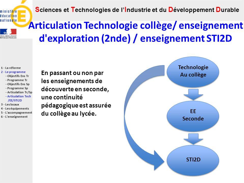 S ciences et T echnologies de l I ndustrie et du D éveloppement D urable 1 - La réforme 2 - Le programme - Objectifs Ens Tr - Programme Tr - Objectifs Ens Sp - Programme Sp - Articulation Tr/Sp - Articulation Tech /EE/STI2D 3 - Les locaux 4 - Les équipements 5 - L accompagnement 6 - L enseignement Technologie Au collège STI2D EE Seconde En passant ou non par les enseignements de découverte en seconde, une continuité pédagogique est assurée du collège au lycée.