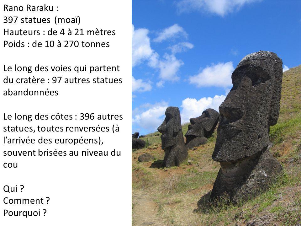 Rano Raraku : 397 statues (moaï) Hauteurs : de 4 à 21 mètres Poids : de 10 à 270 tonnes Le long des voies qui partent du cratère : 97 autres statues abandonnées Le long des côtes : 396 autres statues, toutes renversées (à larrivée des européens), souvent brisées au niveau du cou Qui .