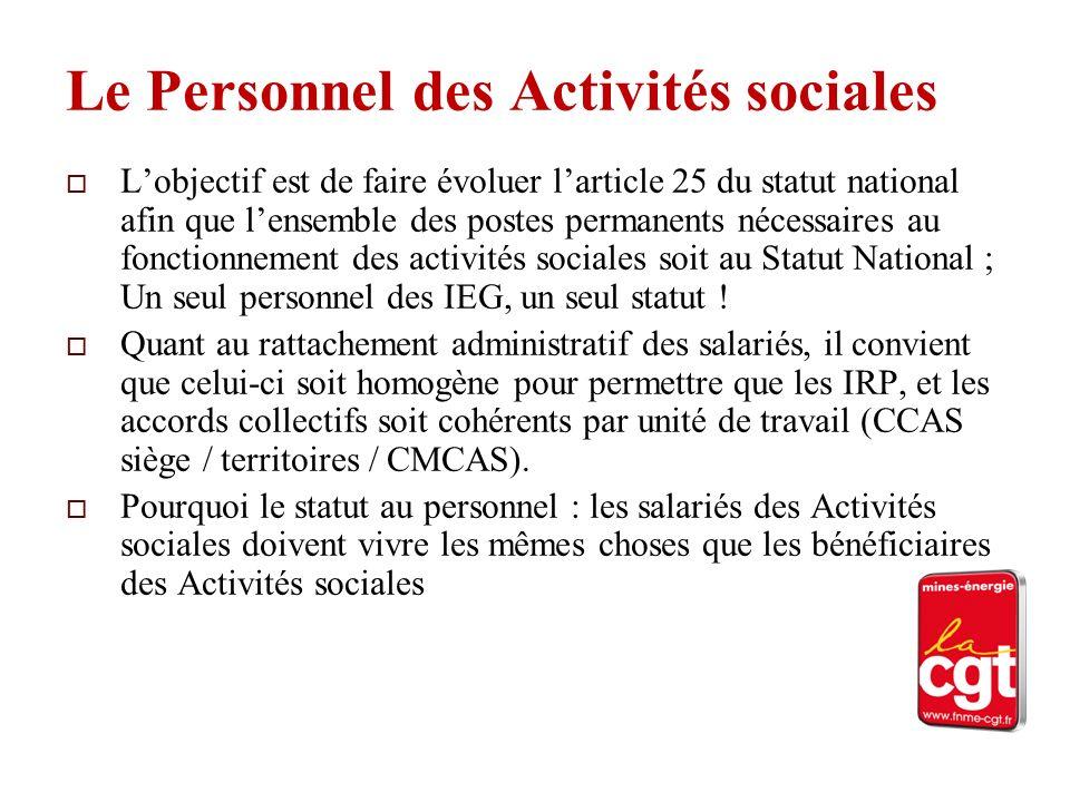 Le Personnel des Activités sociales Lobjectif est de faire évoluer larticle 25 du statut national afin que lensemble des postes permanents nécessaires au fonctionnement des activités sociales soit au Statut National ; Un seul personnel des IEG, un seul statut .