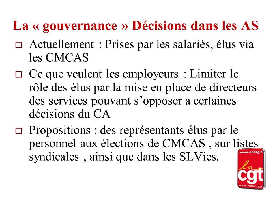 La « gouvernance » Décisions dans les AS Actuellement : Prises par les salariés, élus via les CMCAS Ce que veulent les employeurs : Limiter le rôle de