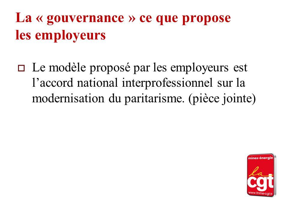 La « gouvernance » ce que propose les employeurs Le modèle proposé par les employeurs est laccord national interprofessionnel sur la modernisation du paritarisme.