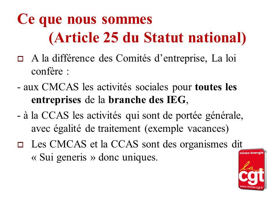 Ce que nous sommes (Article 25 du Statut national) A la différence des Comités dentreprise, La loi confère : - aux CMCAS les activités sociales pour t