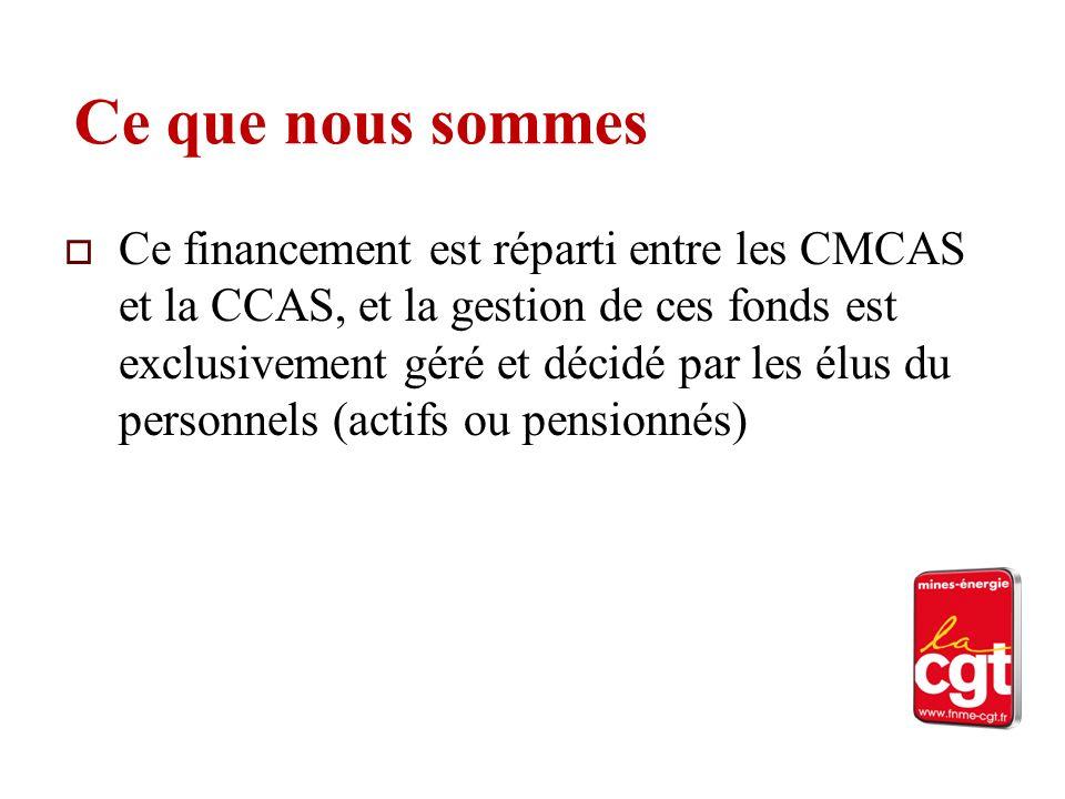 Ce que nous sommes Ce financement est réparti entre les CMCAS et la CCAS, et la gestion de ces fonds est exclusivement géré et décidé par les élus du personnels (actifs ou pensionnés)