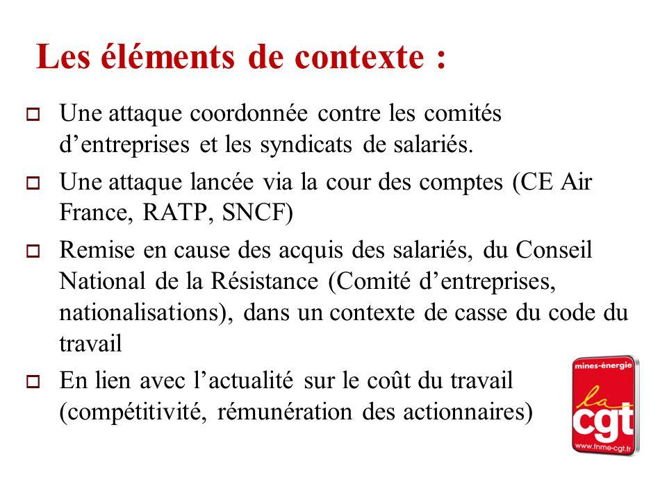 Les éléments de contexte : Une attaque coordonnée contre les comités dentreprises et les syndicats de salariés. Une attaque lancée via la cour des com