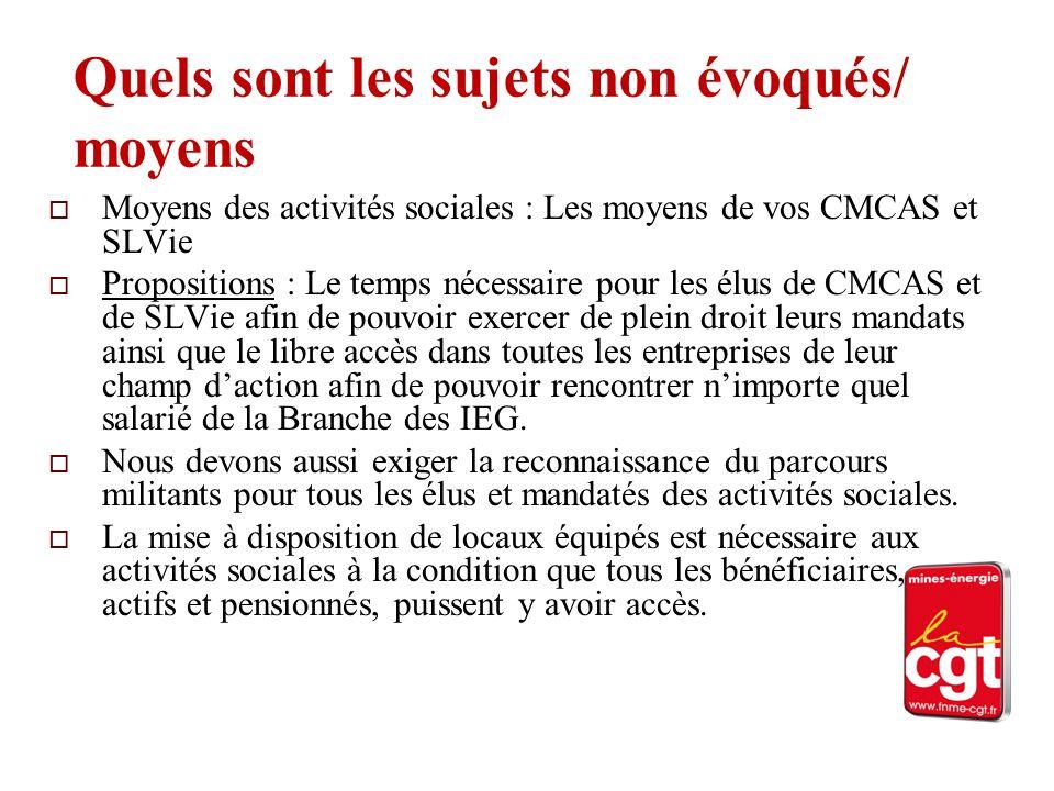 Quels sont les sujets non évoqués/ moyens Moyens des activités sociales : Les moyens de vos CMCAS et SLVie Propositions : Le temps nécessaire pour les
