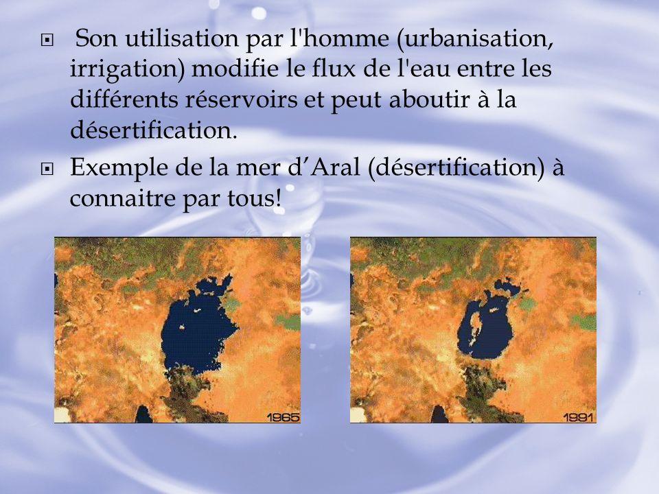 Son utilisation par l'homme (urbanisation, irrigation) modifie le flux de l'eau entre les différents réservoirs et peut aboutir à la désertification.