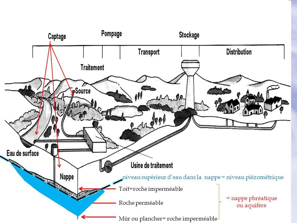 Toit=roche imperméable Roche perméable Mûr ou plancher= roche imperméable = nappe phréatique. ou aquifère niveau supérieur deau dans la nappe = niveau