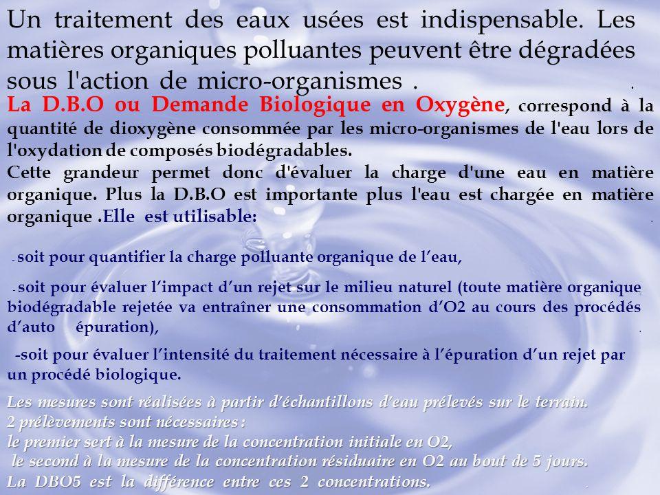 Un traitement des eaux usées est indispensable. Les matières organiques polluantes peuvent être dégradées sous l'action de micro-organismes.. La D.B.O