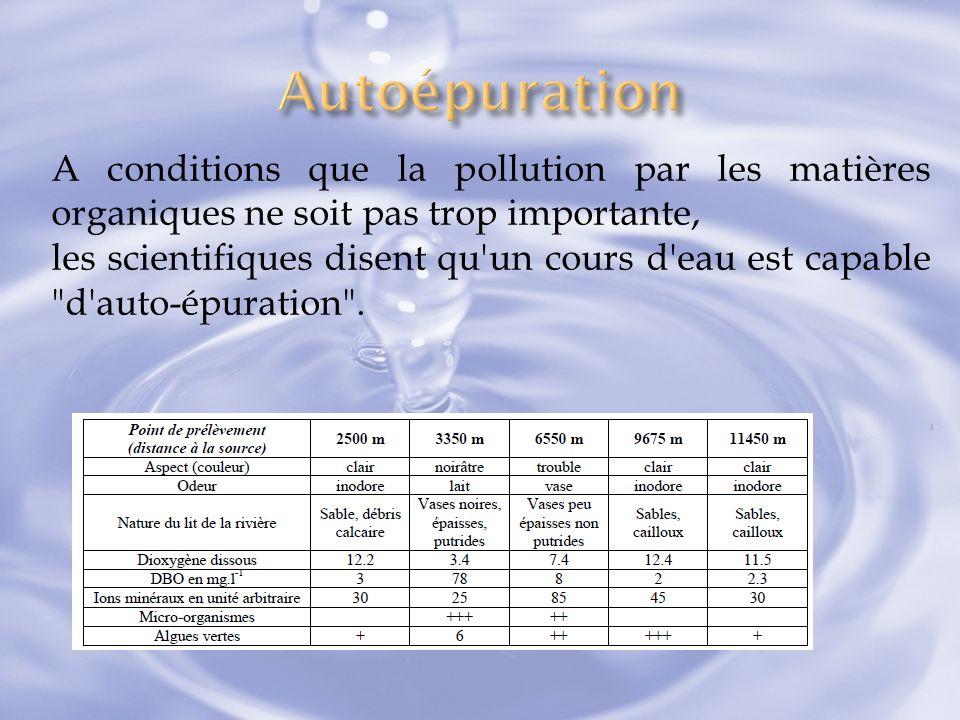 A conditions que la pollution par les matières organiques ne soit pas trop importante, les scientifiques disent qu'un cours d'eau est capable