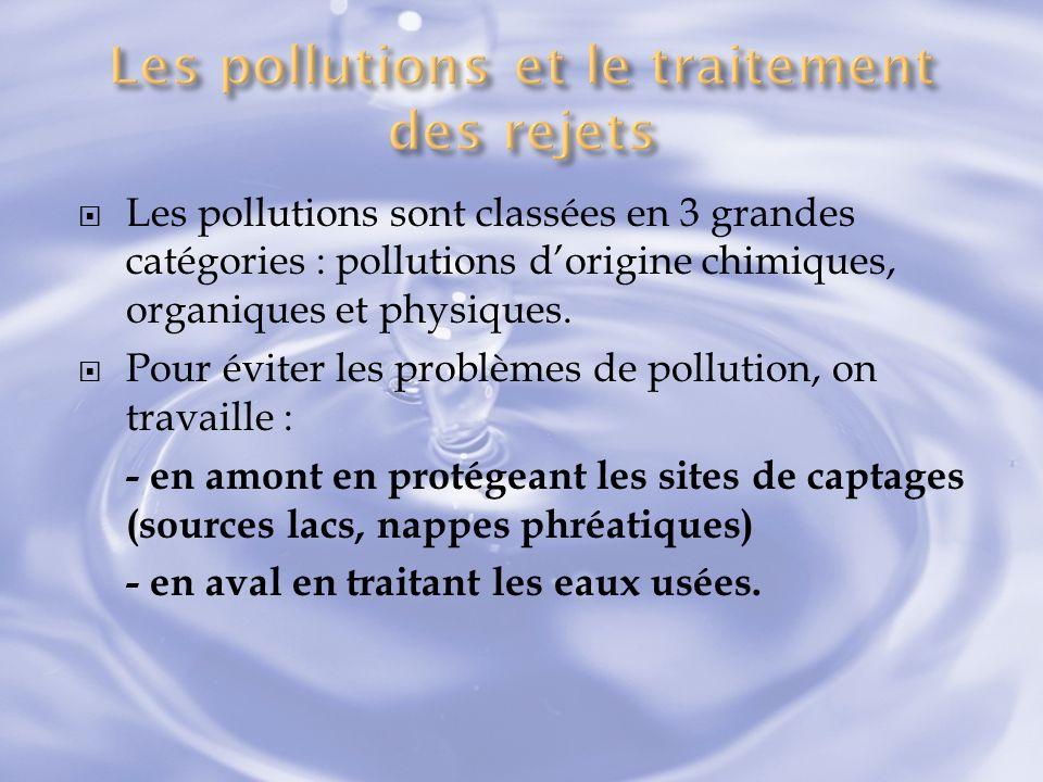 Les pollutions sont classées en 3 grandes catégories : pollutions dorigine chimiques, organiques et physiques. Pour éviter les problèmes de pollution,