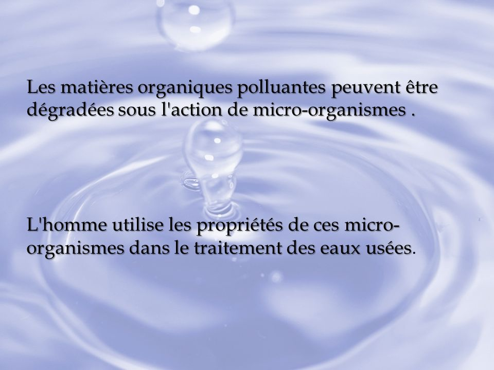 Les matières organiques polluantes peuvent être dégradées sous l'action de micro-organismes. L'homme utilise les propriétés de ces micro- organismes d
