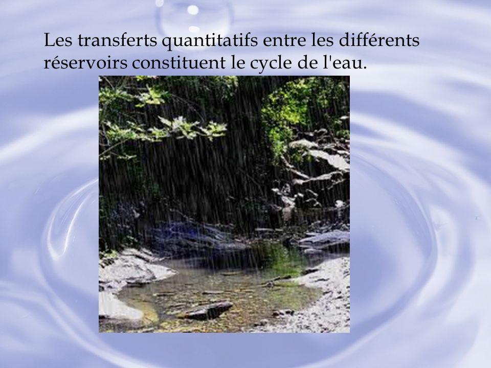 Les transferts quantitatifs entre les différents réservoirs constituent le cycle de l'eau.
