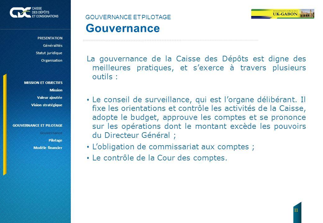 GOUVERNANCE ET PILOTAGE Gouvernance La gouvernance de la Caisse des Dépôts est digne des meilleures pratiques, et sexerce à travers plusieurs outils :