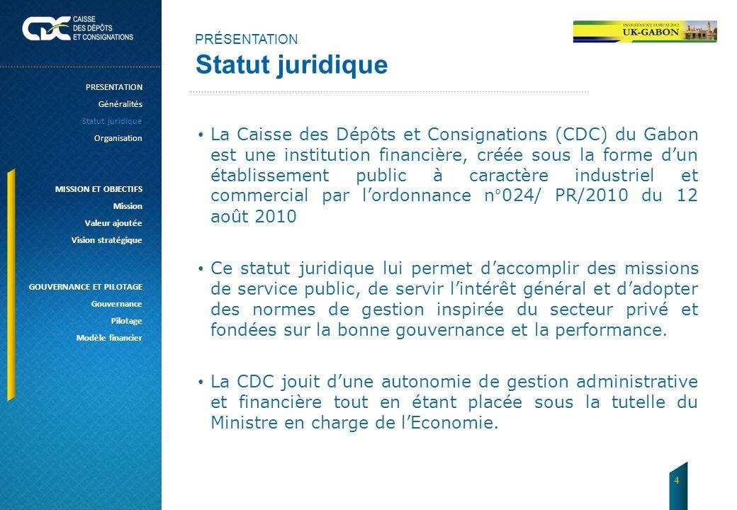PRÉSENTATION Statut juridique La Caisse des Dépôts et Consignations (CDC) du Gabon est une institution financière, créée sous la forme dun établisseme