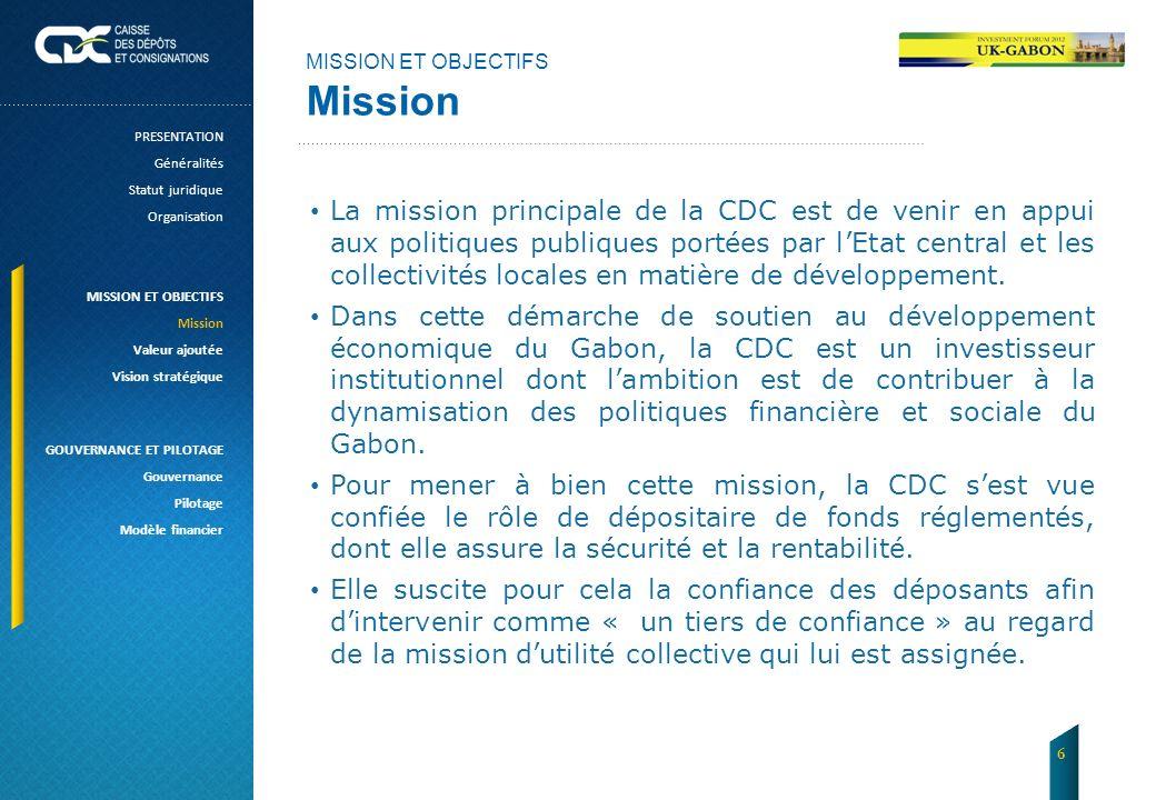MISSION ET OBJECTIFS Mission La mission principale de la CDC est de venir en appui aux politiques publiques portées par lEtat central et les collectiv