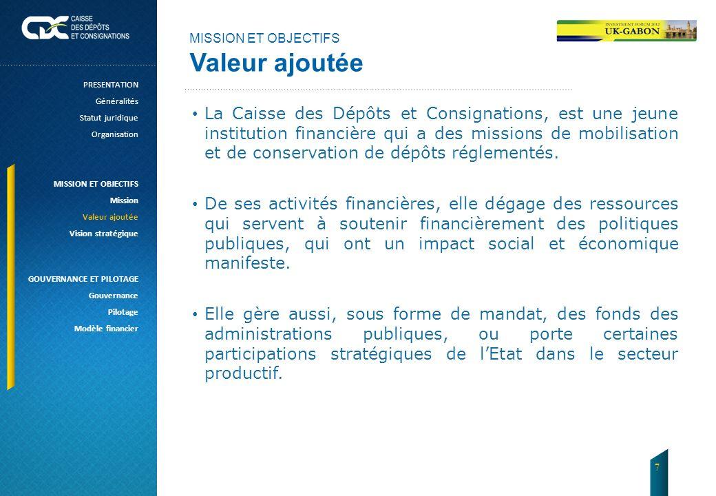 MISSION ET OBJECTIFS Valeur ajoutée La Caisse des Dépôts et Consignations, est une jeune institution financière qui a des missions de mobilisation et