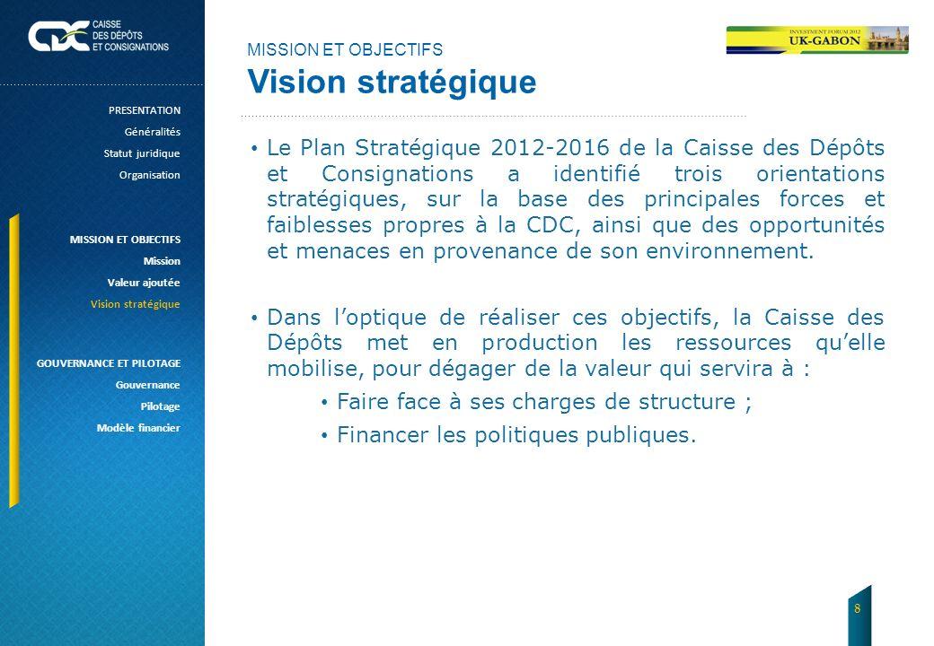 MISSION ET OBJECTIFS Vision stratégique Le Plan Stratégique 2012-2016 de la Caisse des Dépôts et Consignations a identifié trois orientations stratégi