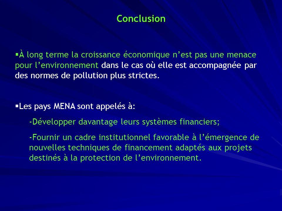 Conclusion À long terme la croissance économique nest pas une menace pour lenvironnement dans le cas où elle est accompagnée par des normes de polluti
