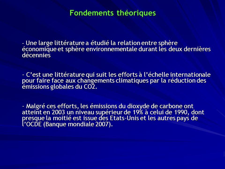Fondements théoriques - Une large littérature a étudié la relation entre sphère économique et sphère environnementale durant les deux dernières décenn
