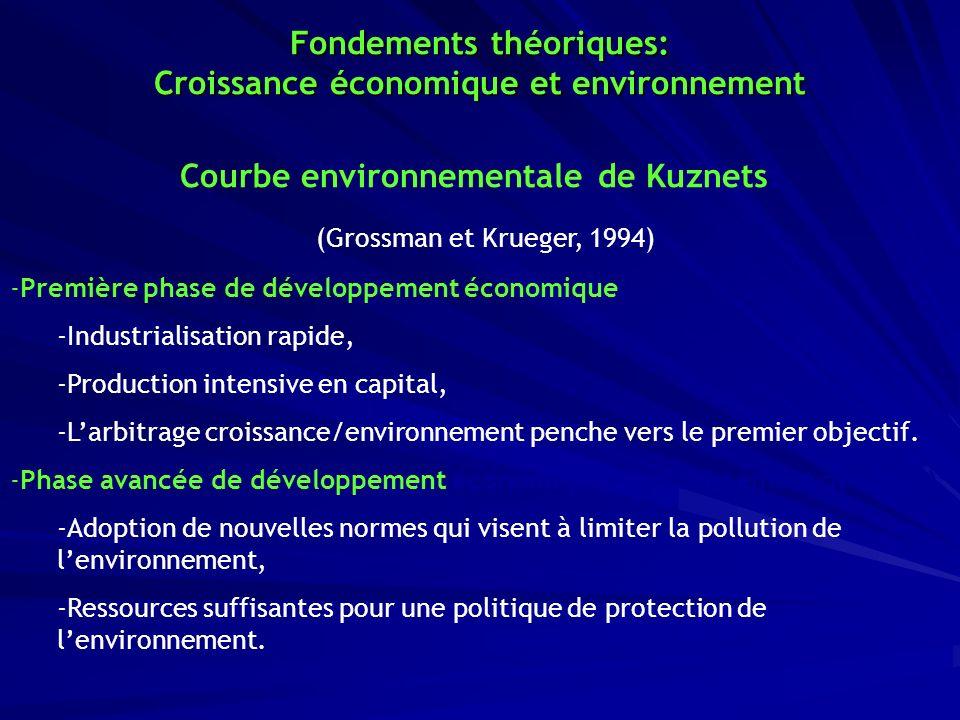 Courbe environnementale de Kuznets: (Grossman et Krueger, 1994) -Première phase de développement économique: -Industrialisation rapide, -Production in