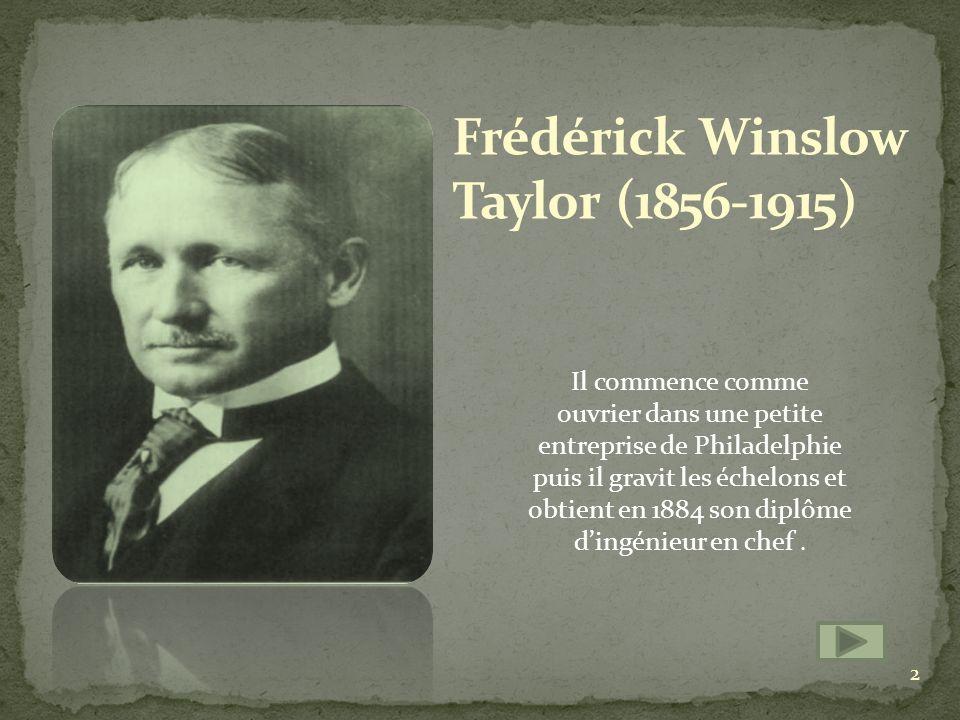Taylor a mis en application de lOrganisation Scientifique du Travail (OST) qui sera la base du taylorisme.