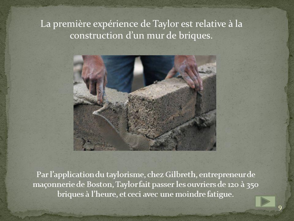 La première expérience de Taylor est relative à la construction dun mur de briques.