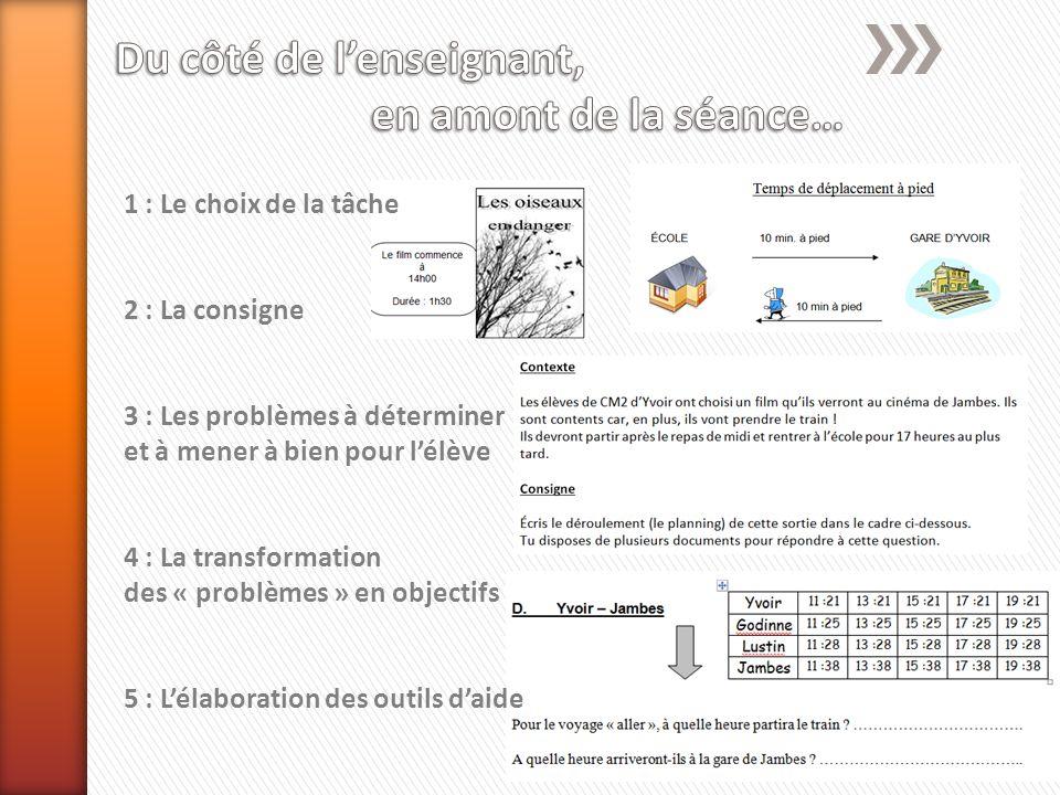 1 : Le choix de la tâche 2 : La consigne 3 : Les problèmes à déterminer et à mener à bien pour lélève 4 : La transformation des « problèmes » en objectifs 5 : Lélaboration des outils daide
