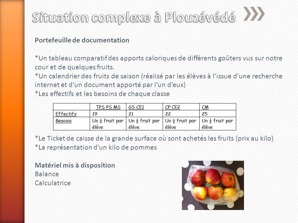 Portefeuille de documentation *Un tableau comparatif des apports caloriques de différents goûters vus sur notre cour et de quelques fruits.