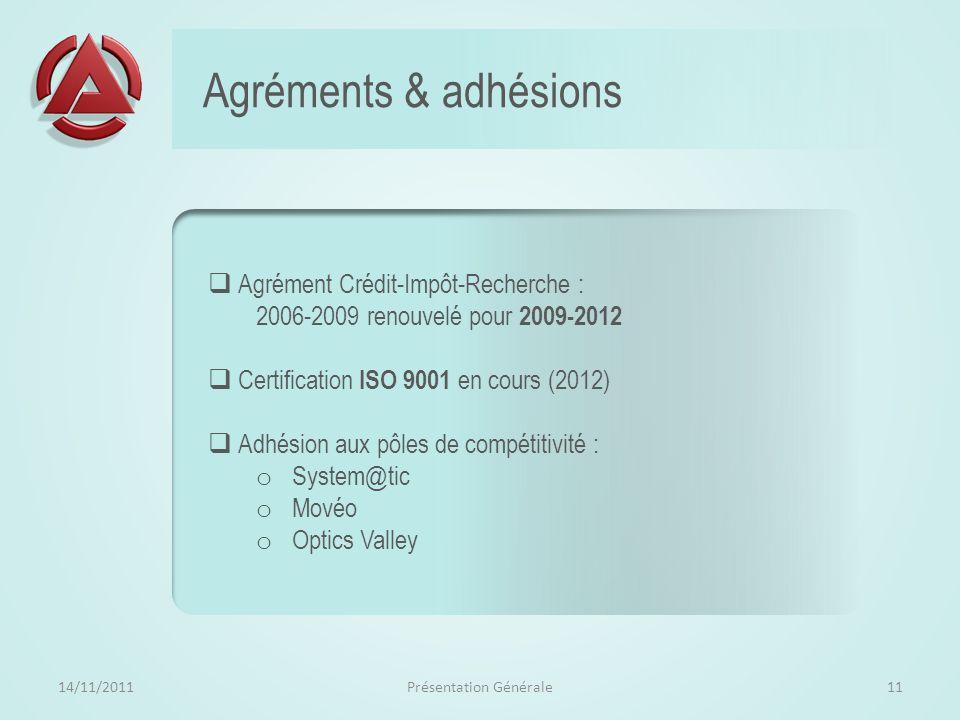 Organisation et méthode 14/11/2011Présentation Générale10 Fondé sur un CDC et une proposition justifiée, admise et comprise de tous les acteurs, un tr
