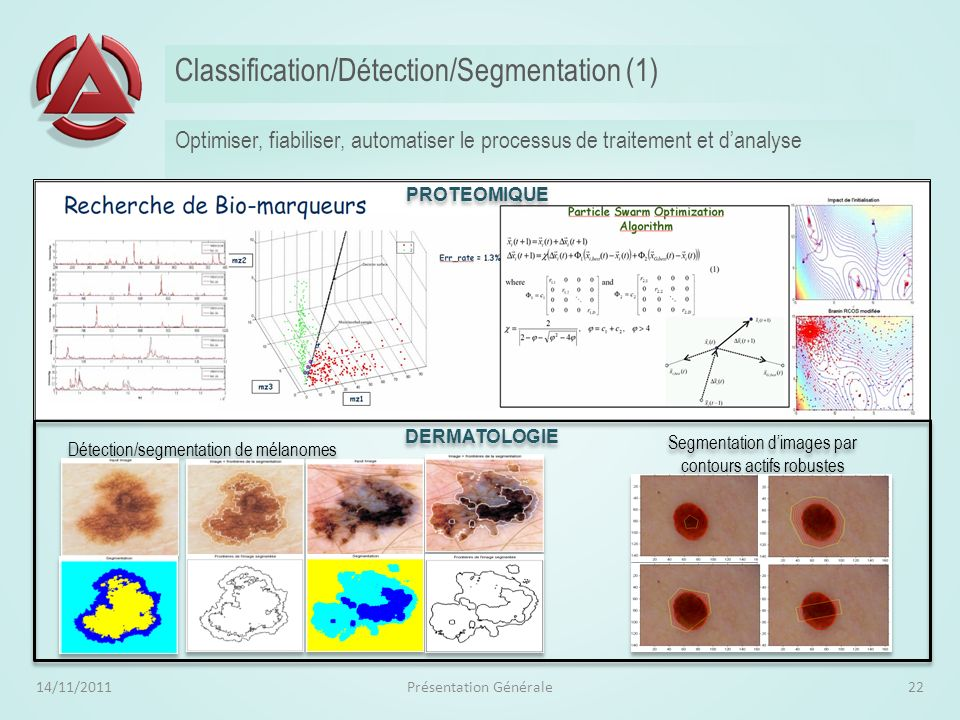 Health Monitoring (Maintenance prédictive) 14/11/2011Présentation Générale21 Détecter un changement et savoir le localiser Estimation dun modèle « nom
