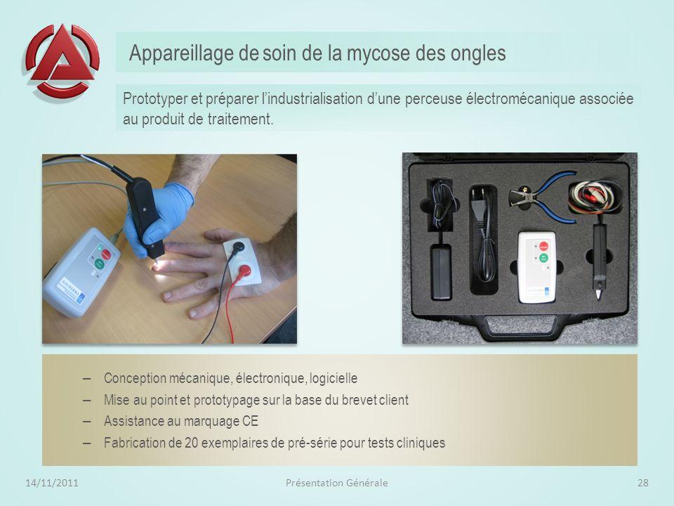 Stylo pour Tableau Blanc Interactif 14/11/2011Présentation Générale27 Conception mécanique et électronique – Electronique avec fortes contraintes dopt