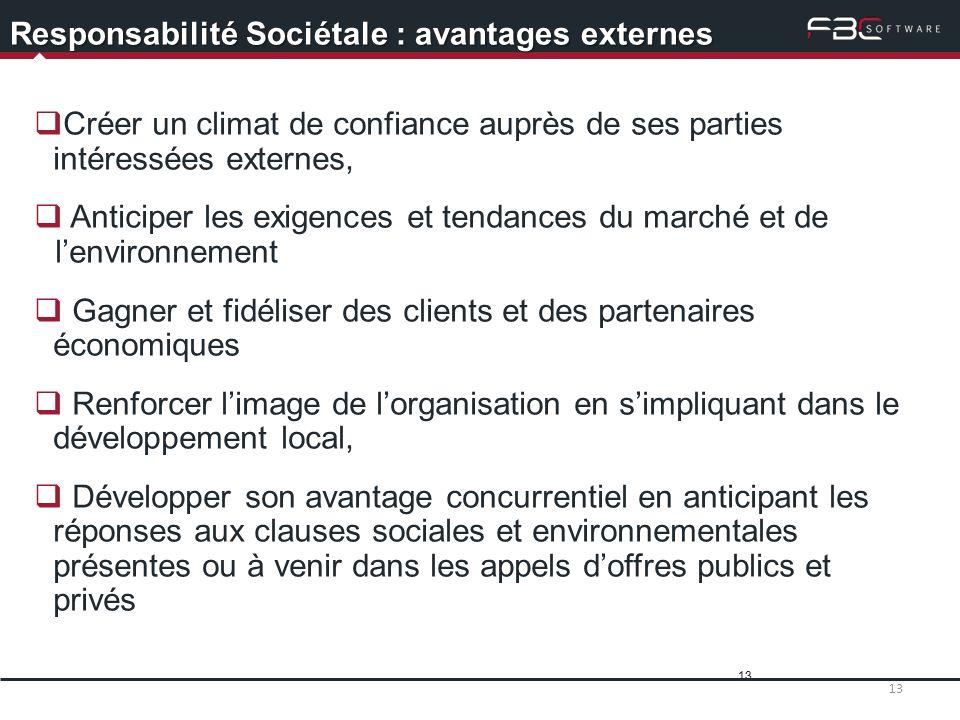 13 Responsabilité Sociétale : avantages externes Créer un climat de confiance auprès de ses parties intéressées externes, Anticiper les exigences et t