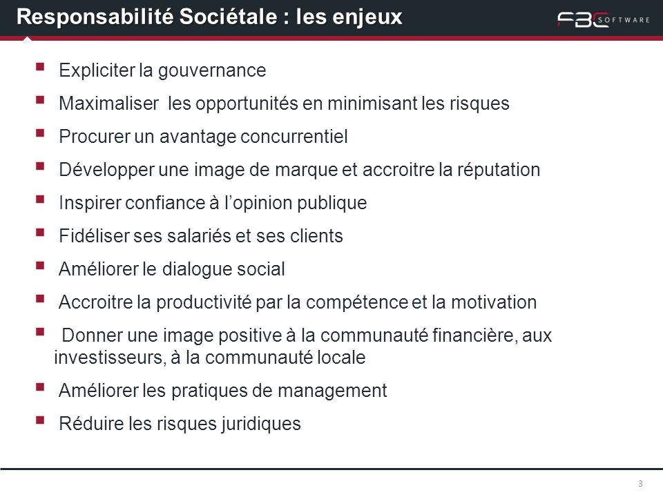 Responsabilité Sociétale : les enjeux Expliciter la gouvernance Maximaliser les opportunités en minimisant les risques Procurer un avantage concurrent