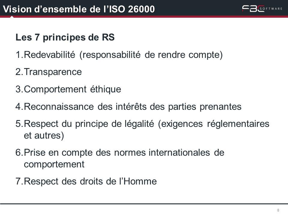 Vision densemble de lISO 26000 8 Les 7 principes de RS 1.Redevabilité (responsabilité de rendre compte) 2.Transparence 3.Comportement éthique 4.Reconn