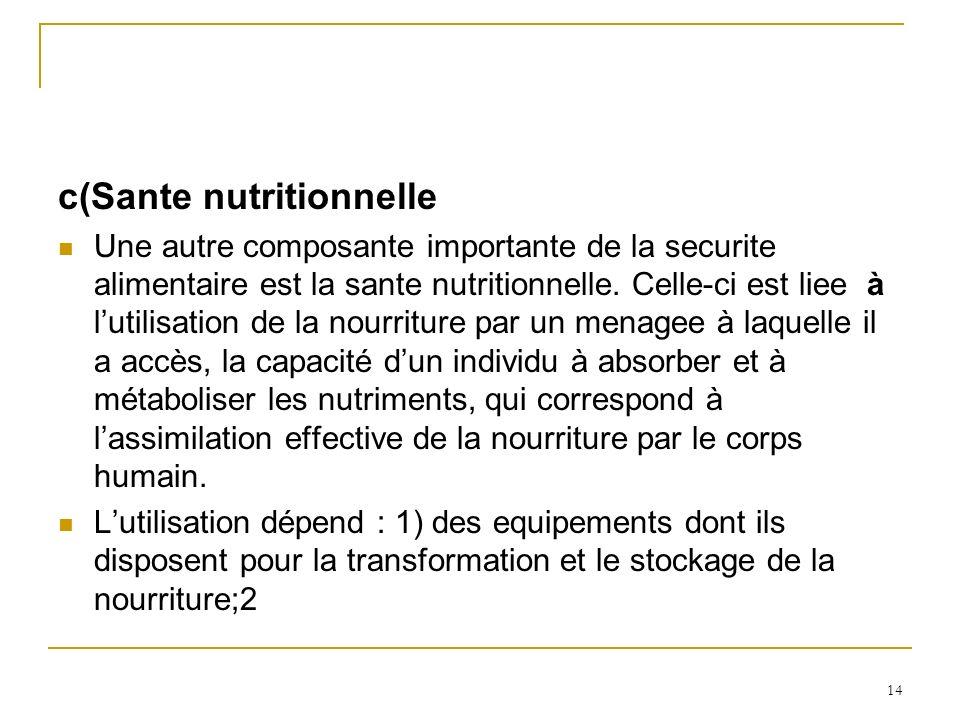 c(Sante nutritionnelle Une autre composante importante de la securite alimentaire est la sante nutritionnelle.