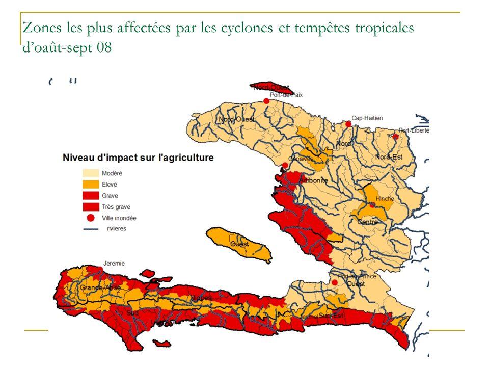 Zones les plus affectées par les cyclones et tempêtes tropicales doaût-sept 08