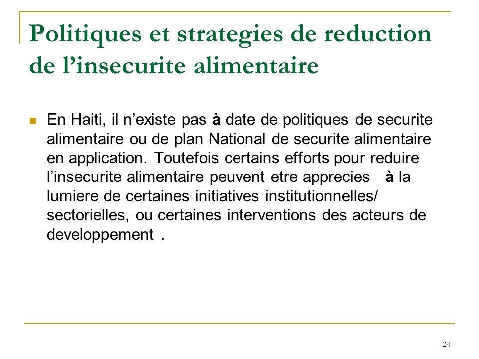 Politiques et strategies de reduction de linsecurite alimentaire En Haiti, il nexiste pas à date de politiques de securite alimentaire ou de plan National de securite alimentaire en application.