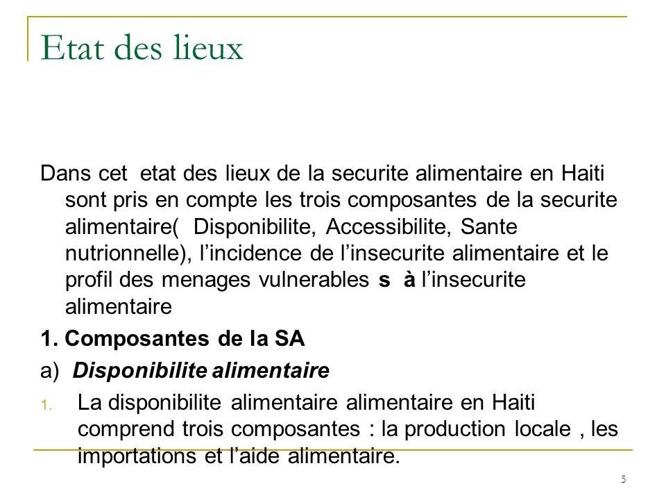 Etat des lieux Dans cet etat des lieux de la securite alimentaire en Haiti sont pris en compte les trois composantes de la securite alimentaire( Disponibilite, Accessibilite, Sante nutrionnelle), lincidence de linsecurite alimentaire et le profil des menages vulnerables s à linsecurite alimentaire 1.