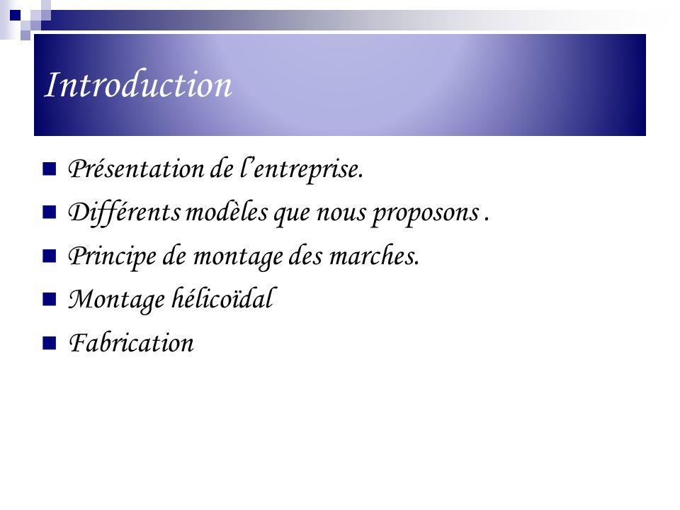 Introduction Présentation de lentreprise. Différents modèles que nous proposons. Principe de montage des marches. Montage hélicoïdal Fabrication