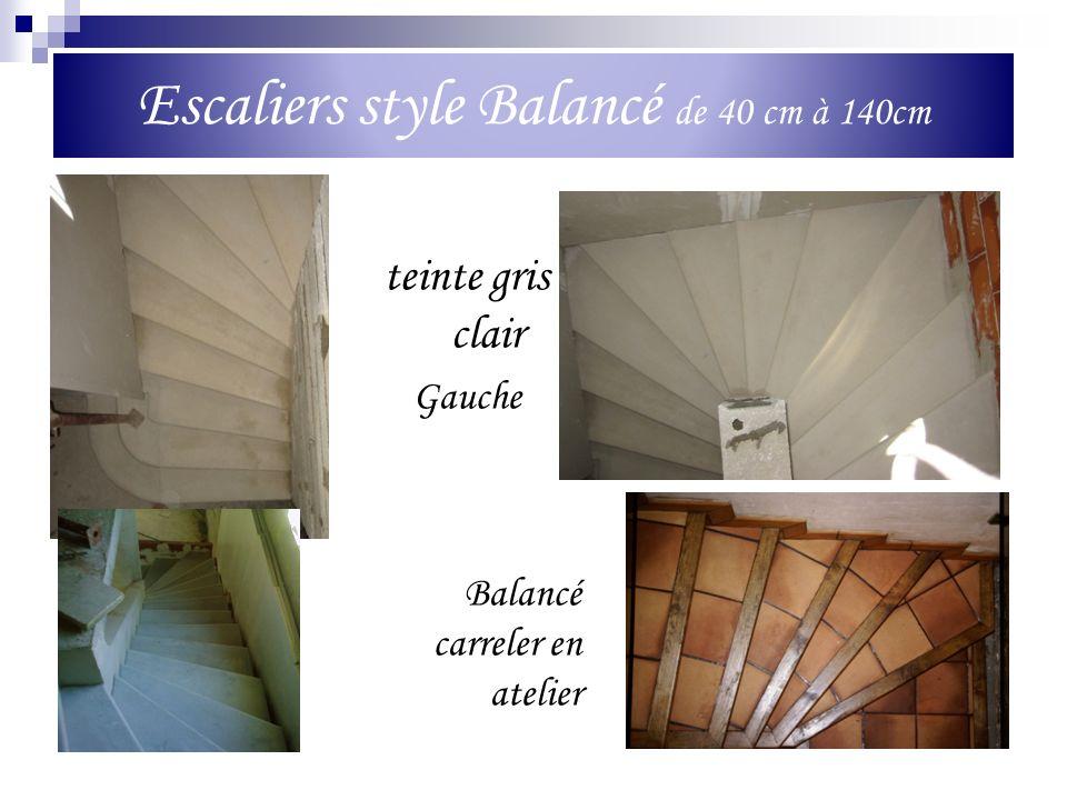 Escaliers style Balancé de 40 cm à 140cm teinte gris clair Gauche Balancé carreler en atelier