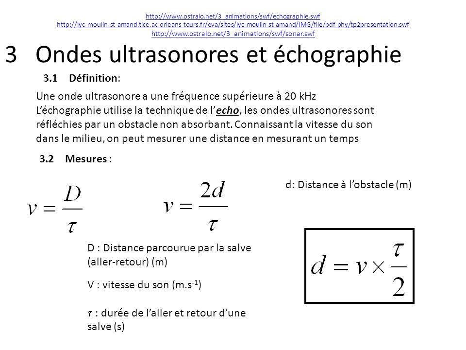 3 Ondes ultrasonores et échographie 3.1 Définition: Une onde ultrasonore a une fréquence supérieure à 20 kHz Léchographie utilise la technique de lech