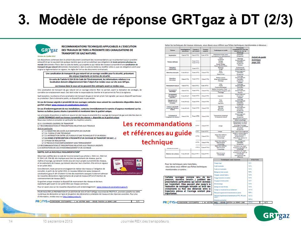 3.Modèle de réponse GRTgaz à DT (2/3) 10 septembre 2013Journée REX des transporteurs14 Les recommandations et références au guide technique