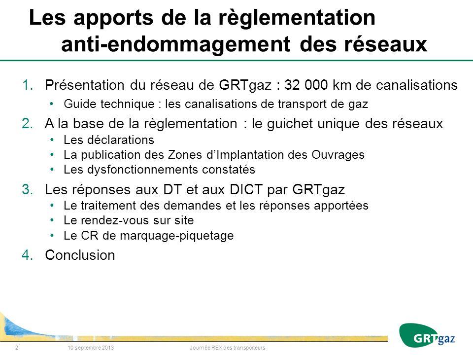 Les apports de la règlementation anti-endommagement des réseaux 1.Présentation du réseau de GRTgaz : 32 000 km de canalisations Guide technique : les