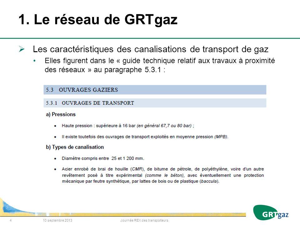 1. Le réseau de GRTgaz Les caractéristiques des canalisations de transport de gaz Elles figurent dans le « guide technique relatif aux travaux à proxi